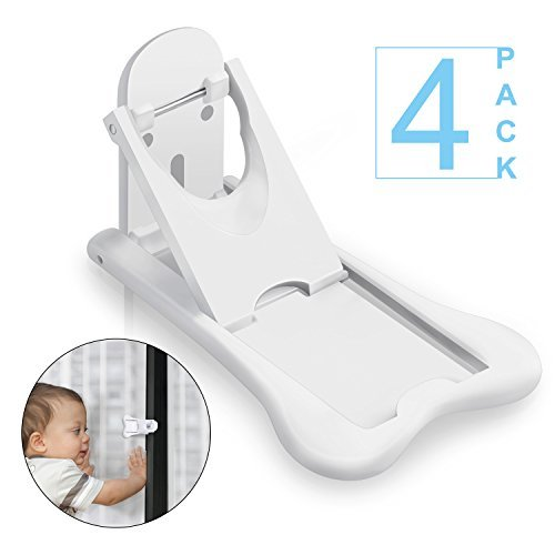 Benewell 4-Pack Sliding Door Locks for Baby Safety, Childproof Lock for Sliding Closet Cabinet Cupboard Bathroom Kitchen Doors Patio Glass Windows, No Tools Needed, White