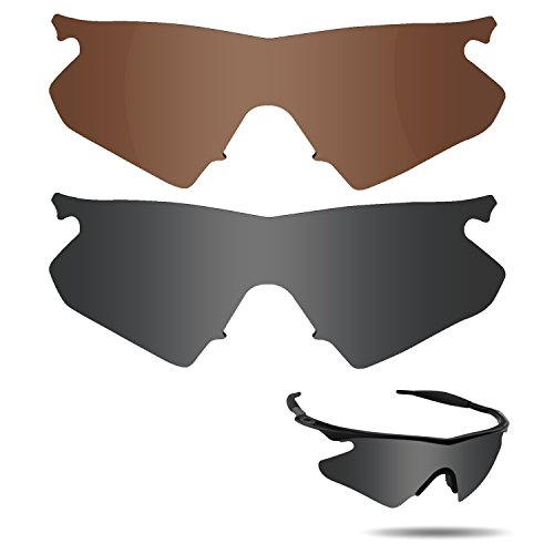 Fiskr Anti-saltwater Polarized Replacement Lenses for Oakley M Frame Heater Sunglasses 2 Pairs Packed (Stealth Black & Bronze - Sunglasses Oakley M Frame 2 Polarized