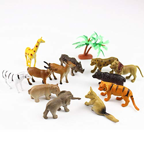 GREATLOVE 12Piece of Plastic Wildlife Model Toys with Giraffes, Bears, Tigers, Foxes, Lions, Hippos, Rhinoceros, Elk, Antelope, Zebra, Leopard & Elephant