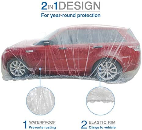 24 Feet by 16 Feet Extra Large Size with Elastic Band West Lake Car Essential Universal Disposable Clear Plastic Car Cover Suitable for SUV Sedan Mini Van