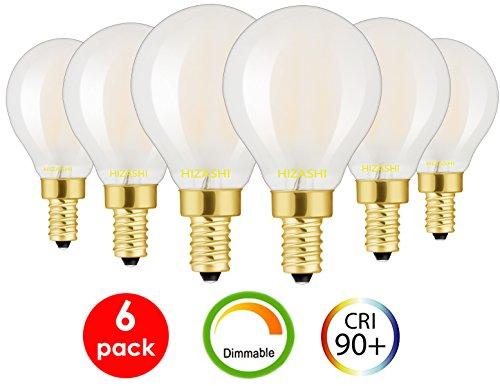 Hizashi 90+ CRI 0-100% Dimming Range 5000K Frosted LED Globe Bulb 6W G45(G14) 650 Lumens 60W Equivalent E12 Candelabra Base Filament Bulbs 5000K 6 PACK