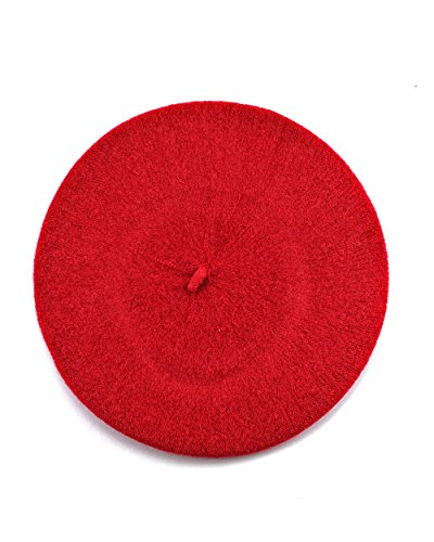 NYFASHION101 French Style Lightweight Casual Classic Solid Color Wool Beret, Red -