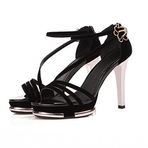 AgooLar Women's Open Toe Buckle Blend Materials Solid Spikes Stilettos Sandals Black 8g28n