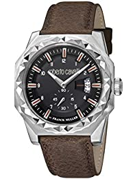 Men's RC-82 Stainless Steel Swiss Quartz Watch with Leather Calfskin Strap, Brown, 22 (Model: RV1G069L0026)
