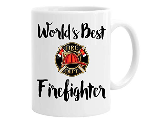 (InterestPrint World's Best Firefighter White Ceramic Coffee Mugs Office Tea Cups with Fire Department Symbol Funny Motivational Birthday Christmas Gift for Women Men Mom Dad Friends, 11 Ounce)