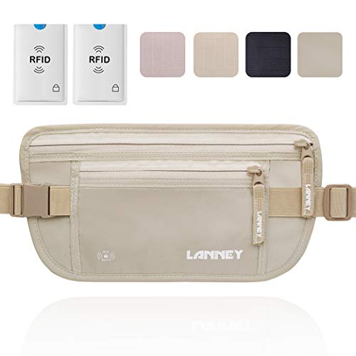 Travel Money Belt Hidden Waist Stash Wallet RFID Blocking Anti-Theft Passport Holder for Men Women, Cream