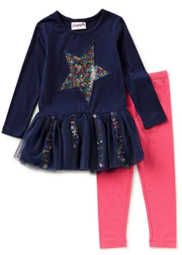Outfit Flapdoodles Girl (Flapdoodles Girls Navy Pink Sequin Heart Size 4-6X Tunic Leggings (5))