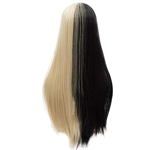 Probeauty Halloween Collection 75cm Mix Color Gothic Long Straight Ombre Hair Synthetic Cosplay Wig+Cap (Blonde mix Black-Straight)