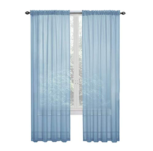 GoodGram 2 Pack: Ultra Luxurious High Thread Rod Pocket Sheer Voile Window Curtains Assorted Colors (Baby Blue) (Sheers Blue)