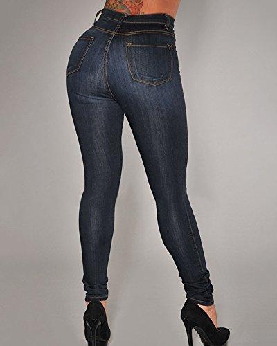 Pantalons Bleu Denim Femme Skinny Jeans Bouton Crayon Noir Slim Taille Stretch Leggings Haute PPqBrxwR