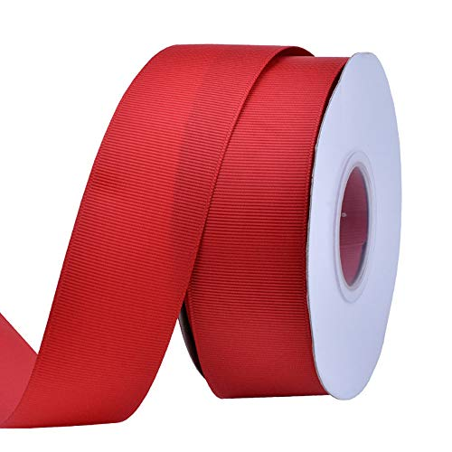 Ribest 1-1/2 inch 25 Yards Solid Grosgrain Ribbon Per Roll for DIY Hair Accessories Scrapbooking Gift Packaging Party Decoration Wedding Flowers Red