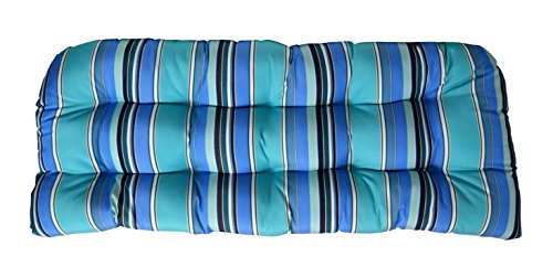 RSH DECOR Sunbrella Dolce Oasis Wicker Love Seat Cushion - Indoor/Outdoor Wicker Loveseat Settee Tufted Cushions - Blue, Turquoise & White Stripe ()