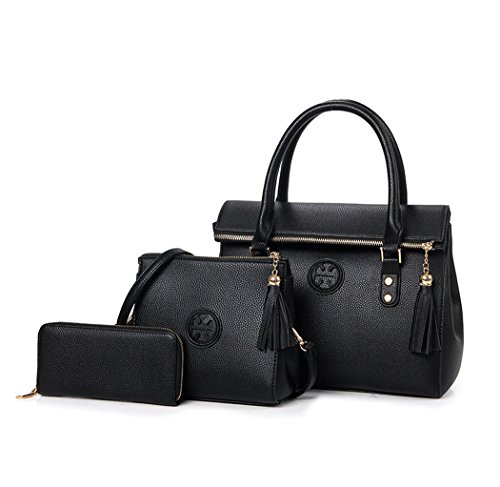Mujer Shoppers y bolsos de hombro Bolsos bandolera Carteras de mano y clutches 3pcs Set Fekete
