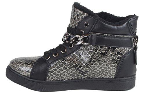 Cobry - coole Damen Sneaker Winter Boots Schlangen Optik Animal Python Look gefütterte Stiefel Winter Boots 36 37 38 39 40 41 schwarz/grau schlange