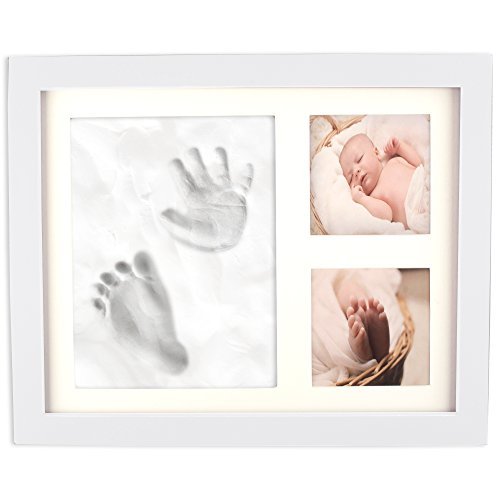 Home Traditions Baby Handprint & Footprint Kit Frame for Newborn Boys & Girls, Personalized Gifts, Shower Registry, Keepsake Box, Nursery Decor - Holds Two 3x3 Images & Clay Included, White by Home Traditions