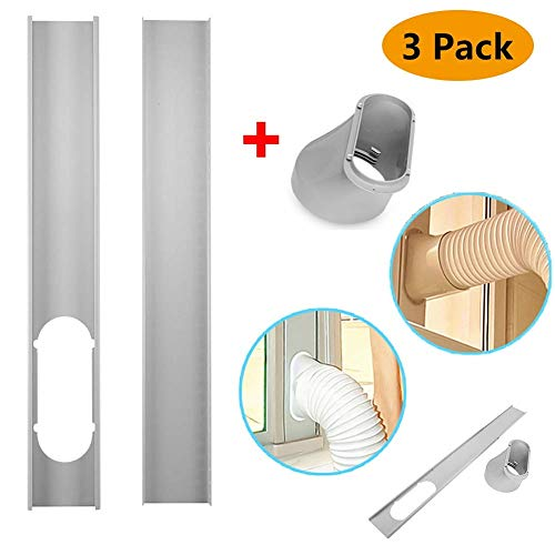 (Window Slide Kit Plate/Window Adapter, Portable AC Vent Kit for Sliding Glass Doors and Large Windows, 2Pcs Window Slide Kit Plate/6inch Window Adapter for Portable Air Conditioner )