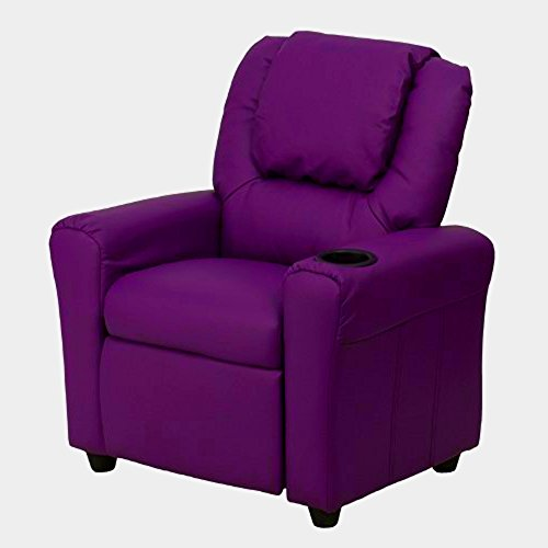 Little Kid Recliner Purple Vinyl Children Small Comfy Chair Seat Cup Holder  Headrest Child Size Padded