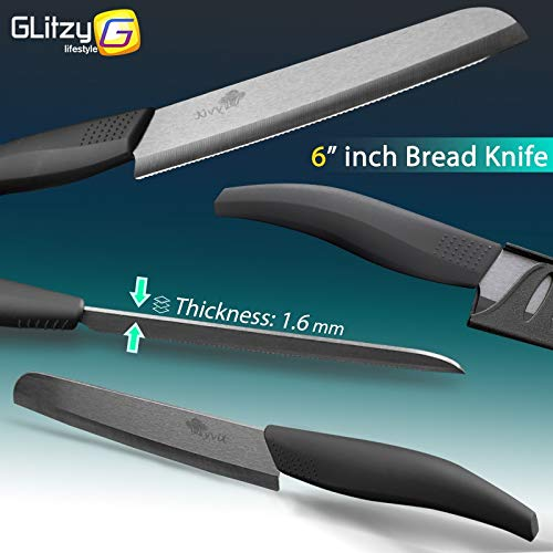 Gano Zen Ceramic Knife 6 5 4 3 Inch Kitchen Chef Knives Zirconia Black Blade Utility Slicing - Paring Fruit Vegetable Meat - Cutter Tool by Gano Zen (Image #3)