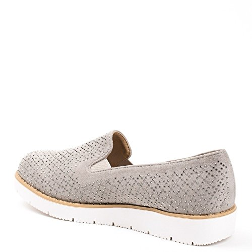 Ideal Shoes, Damen Slipper & Mokassins Grau