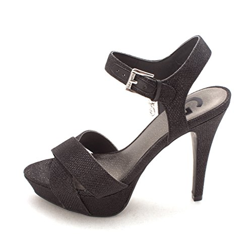 G by GUESS Womens Cenikka2 Open Toe Ankle Strap Platform Pumps, Black, Size 8.0 (Guess Sandals Strap Ankle)