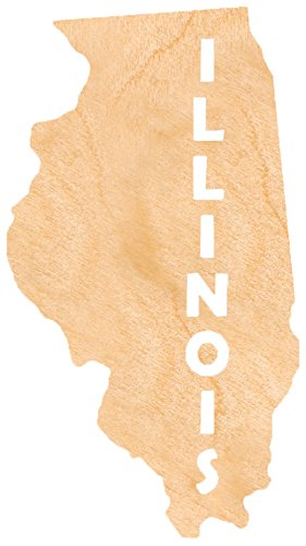 aMonogram Art Unlimited State Of Illinois Wooden Shape With State Name and 1/4 Burch plywood Wall Decor, 24''