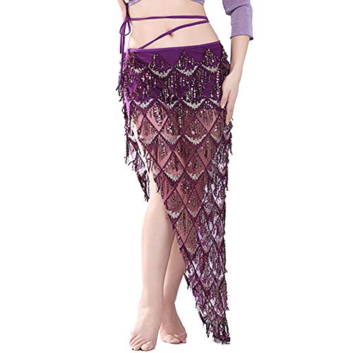 MUNAFIE Hip Scarf for Belly Dance Folk Dance Halloween Costume Tribal Dance Skirt with Sequin Tassel Wine Red ()