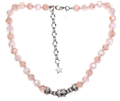 (Kirks Folly Goddess Crystal 2-Tone Necklace ~ Peachy Pink - silvertone New)