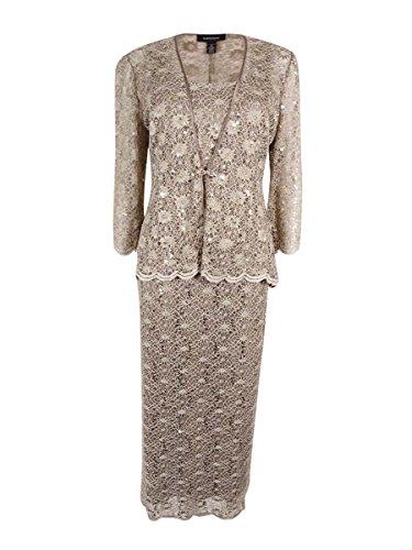 R&M Richards Women's 2 PCE Lace Swing Jacket Dress, Mocha, 16