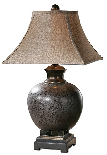 (The Distressed Table Lamp in Rust Brown Glaze With Black Accents And Dark Bronze)
