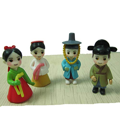 LU2000 Asian People Minifigures Small Size Micro Figurines Statue Korean Style [Autumn Series] for Micro Landscape Desk Home Decoration Little Statue Mini Sculptures Pack of 4 -
