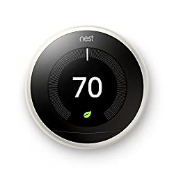 Nest Learning Thermostat, Easy Temperature Control for Every Room in Your House, White (Third Generation)