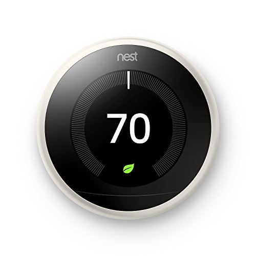 Nest T3017US Learning Thermostat, Easy Temperature Control for Every Room in Your House, White (Third Generation), Works with Alexa Small ()