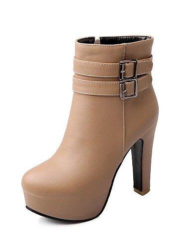 XZZ  Damenschuhe - Stiefel - Kleid - Kunstleder - Blockabsatz - Modische Stiefel - Schwarz   Weiß   Beige  | Langfristiger Ruf  | Exquisite (mittlere) Verarbeitung