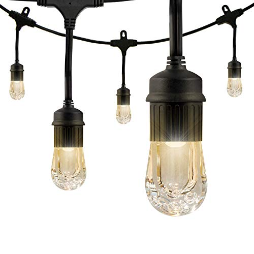 (Enbrighten Classic LED Cafe String Lights, Black, 48 Foot Length, 24 Impact Resistant Lifetime Bulbs, Premium, Shatterproof, Weatherproof, Indoor/Outdoor, Commercial Grade, UL Listed, 31664)