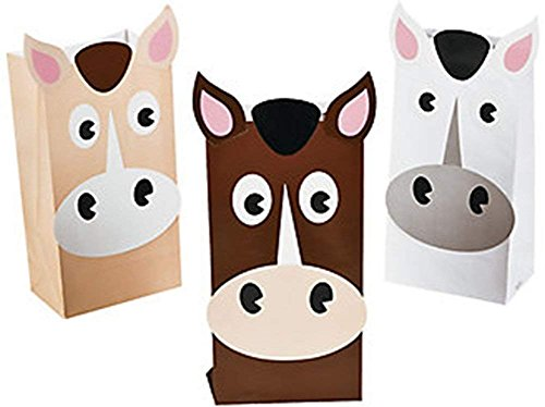 Set of 12 Horse Theme Treat Bags in Beige, Brown and (Full Inactive Set)