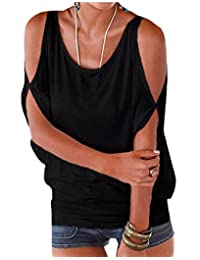 Womens Vogue Cold Shoulder Batwing T-shirt Tops Summer Loose Blouse Tunic Tanktop