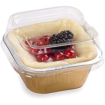 Premium 3.4-OZ Baking Cups with Lids - Square Foil Baking Cups & Lids Perfect for Fancy Desserts or Mini Snacks - Gold Cup with Clear Lid - Oven & Freezer Safe - Recyclable - 100-CT