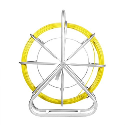 VEVOR Fish Tape Fiberglass 6MM 425FT Duct Rodder Fish Tape Continuous Fiberglass Wire Cable Running with Cage and Wheel Stand - Duct Tape Glasses