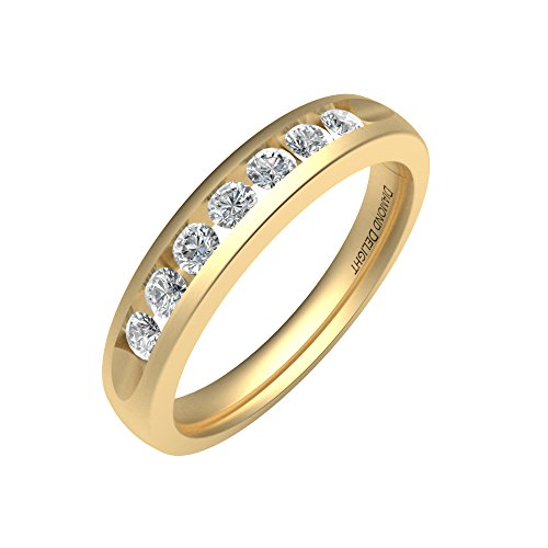 IGI Certified 14K Gold 7 Stone Channel Set Wedding/Anniversary Diamond Band Ring (1/3 Carat )