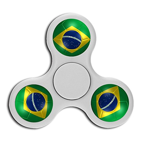 PFTGOD brazil flag Fidget Spinner Stress Reduce flick Toys Perfect Gyro White (Spinner Trophy Soccer)