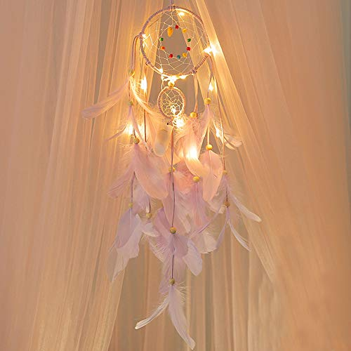 Lljin Handmade Dreamcatcher Feathers Night Light Car Wall Hanging Room Home Decor (Purple)