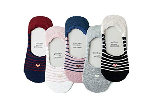 (Women 5 Pack Thin Casual No Show invisible Socks Non Slip Flat Boat Liner Low Cut Ladies Low Profile Socks (Heart stripe) )