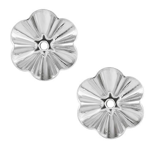 White Gold Earring Jackets - 14 Karat White Gold 6.75 Millimeter Diameter Buttercup Earring Jackets