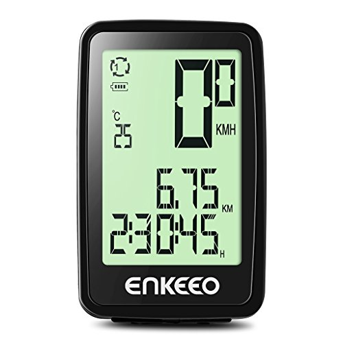 Enkeeo Wired Bike Computer USB Rechargeable Bicycle Speedometer Odometer with 12 Hour Backlight Display, Current/AVG/MAX Speed Tracking, Trip Time/ Distance Recording for Cycling (Cycling Computer Bike)