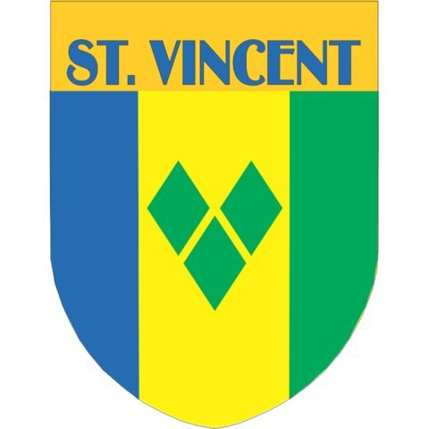 St. Vincent Flag Shield Style Stickers - St Vincent Style