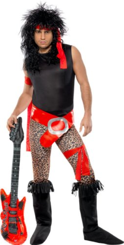Halloween Rock Band Costumes (Smiffy's Men's Super Rock Star Costume with Top Trousers Belt Headband and Boot Covers, Multi, Large)
