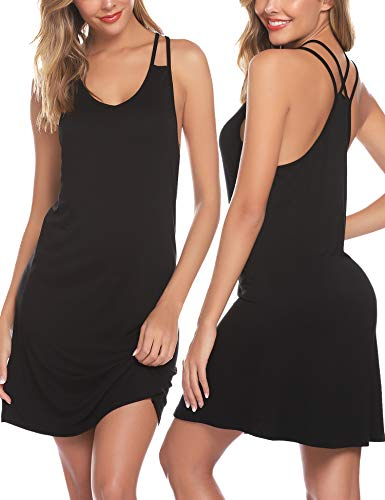 Cotton Slip Chemise - Sykooria Women's Nightgown Camisole Sleepwear Sleeveless Full Slip Chemise Night Dress Sleepshirt
