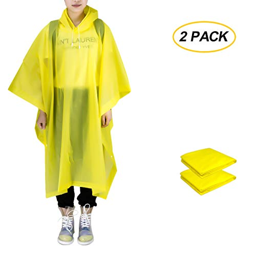(ANTVEE Rain Ponchos 2 Packs for Adults with Drawstring Hood - for Hiking, Backpacking, Camping or Traveling)