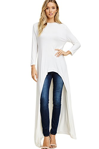 Annabelle Women's Solid Knit Print Round Neck 3 4 Sleeve Irregular Hem Casual Long Floor Length Tunic Shirt Top Offwhite Large X-Large T1022CK