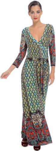 Moroccan Jersey Wrap Maxi Dress, L, Multi